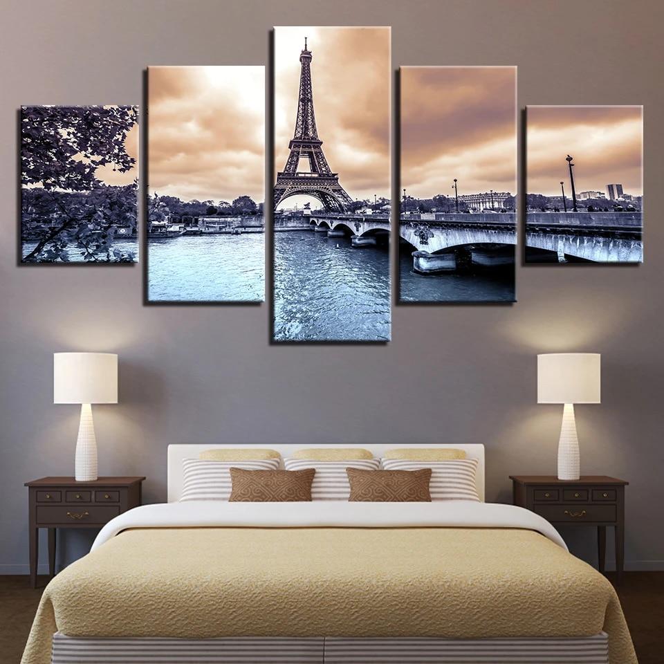 Eiffel Tower Paris City River 5 Piece Canvas Print Poster HOME DECOR Wall Art