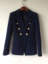 New Fashion 2019 Designer Blazer Jacket Womens Double Breasted Metal Lion Buttons Outer size S-XXXL