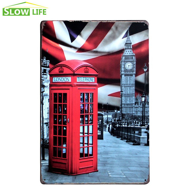 London Telephone Booth Sign Cafe Wall Decor Metal Sign Vintage Home ...