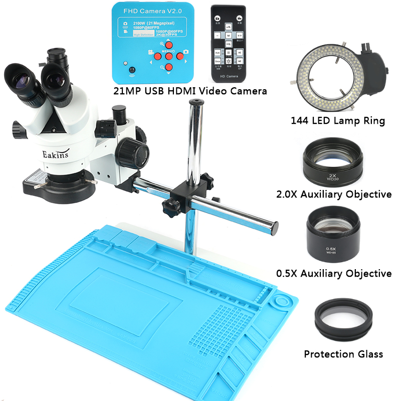 7-45X Simul Focal Zoom Trinocular Stereo Microscope with 21MP HDMI USB Industrial Electronic Digital Video Camera PCB Repair Set 7x 45x simul focal trinocular stereo microscope set with 16mp 1080p hdmi usb digital industrial video camera for pcb soldering