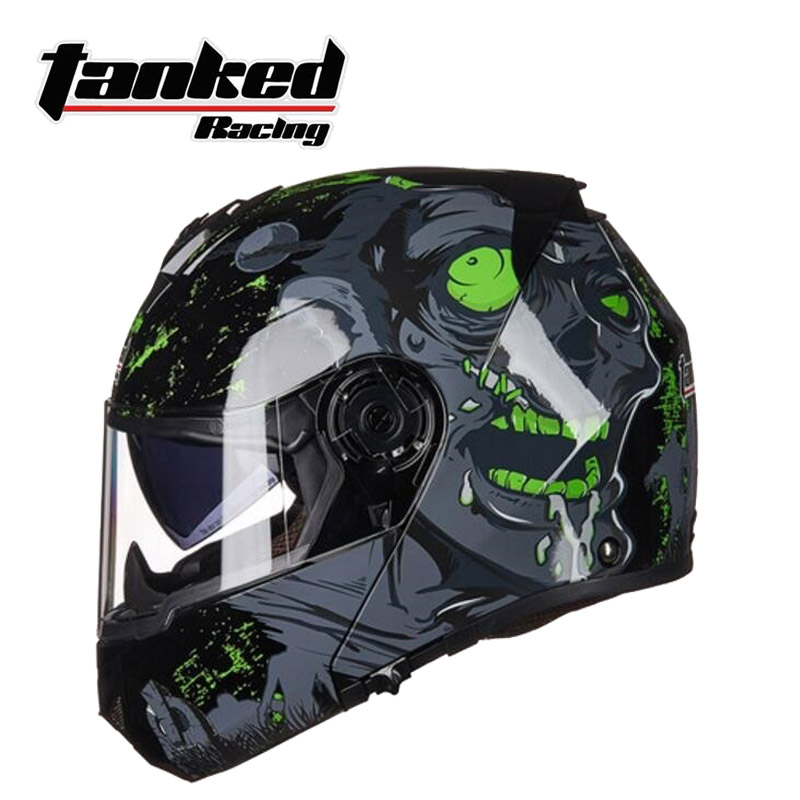 2018 New Germany Tanked Racing ECE Flip Up Motorcycle Helmet Double lens Open Face Motorbike helmets of ABS and PC lens visor