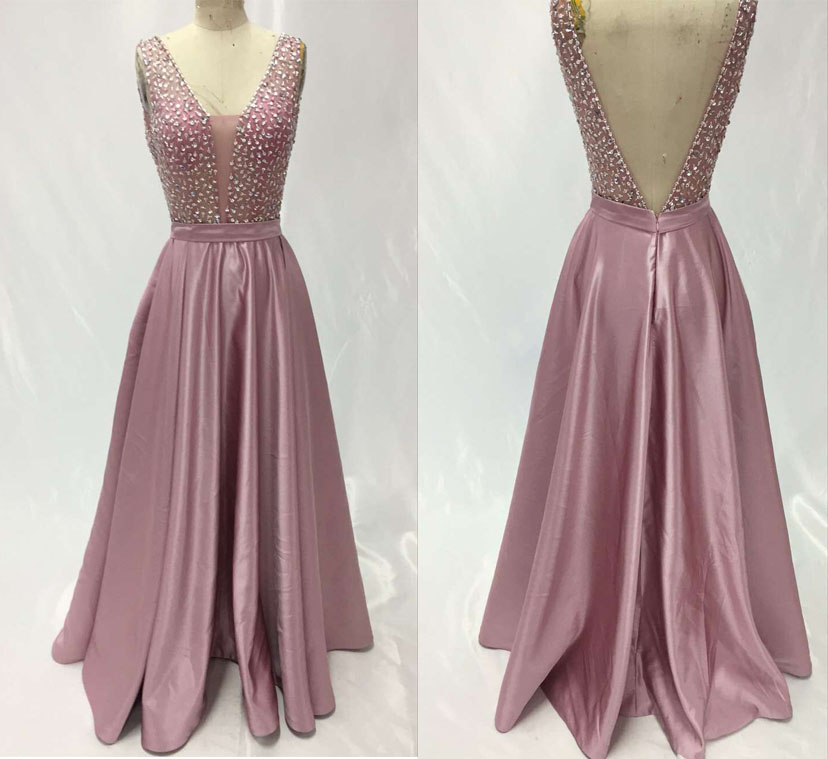 Pale Mauve Evening Dresses 2017 V Neck V Back Floor Length Slive Sequins Beaded Satin Prom