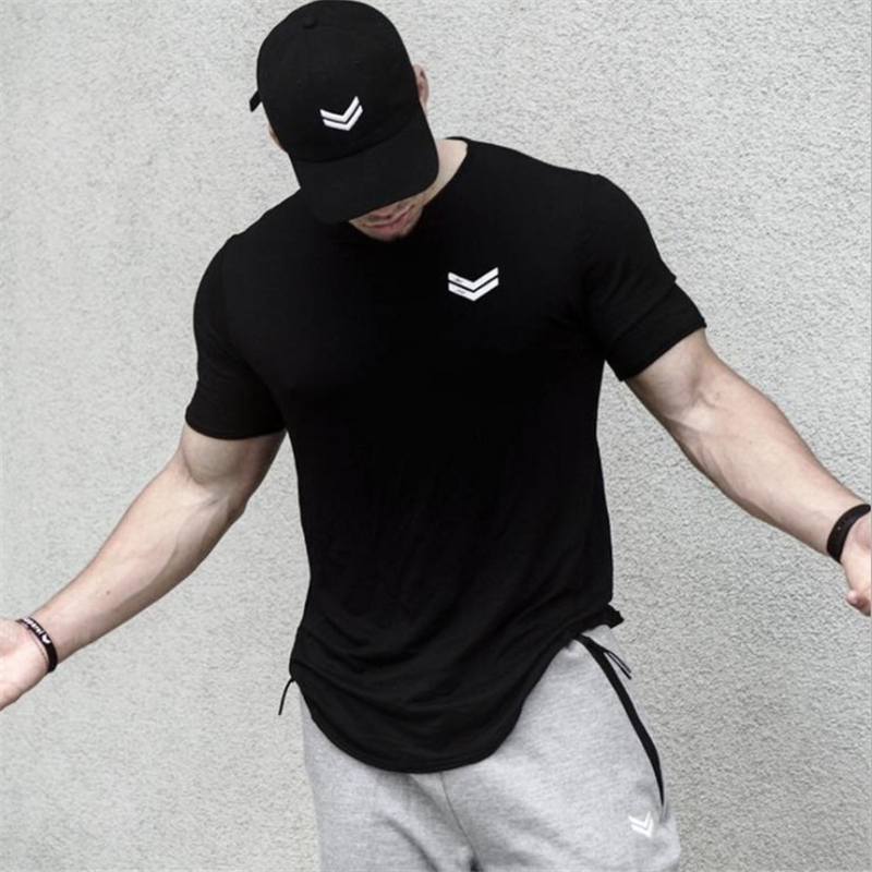 2019 Summer New Men Gyms Fitness T Shirt Bodybuilding Shirts Fashion Casual Male Short Sleeve Cotton Tees Tops Clothing