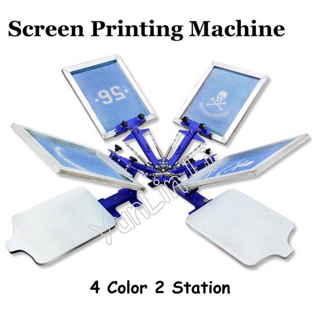 4 Color 2 Station T-shirt Screen Printing Machine T-shirt Printer Press Equipment 55*45cm DIY T-Shirt TJ