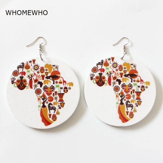 Unfinished Wood Painting Africa Map Round Shape Drop Earrings Fashion Women Wooden African Jewelry Gifts Hiphop