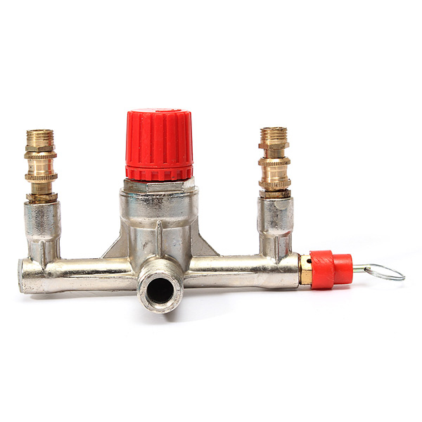 Zinc Alloy Air Compressor Double Outlet Tube Pressure Regulator Valve Fitting Parts Durable Quality gyro pressure zinc alloy reducing toy for office worker