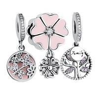 Original Charm Fit Pandora Bracelet 925 Sterling Silver Dragonfly Daisy Family Tree Mother Heart Dangle Charm