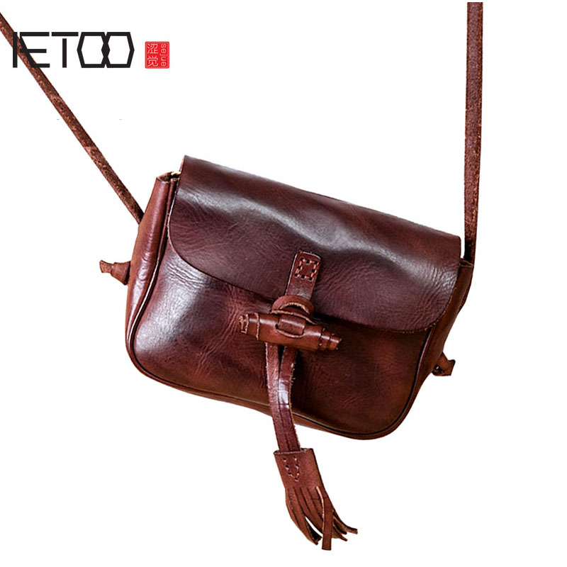 AETOO Bag female new handmade leather shoulder bag art retro first layer leather tassel bag female Messenger bag aetoo new leather diagonal female bag korean fashion tassel lady bag leather shoulder messenger bag