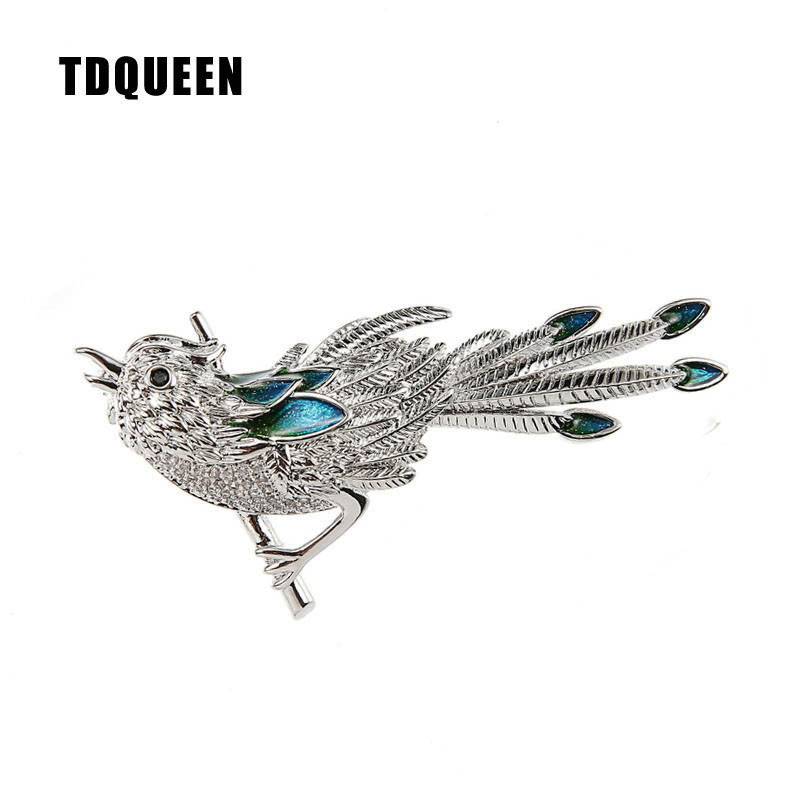 Micro Pave Cute Bird Brooch Silver Plated Metal Austrian Crystal Enamel Animal Pins and Brooches for Women (1)