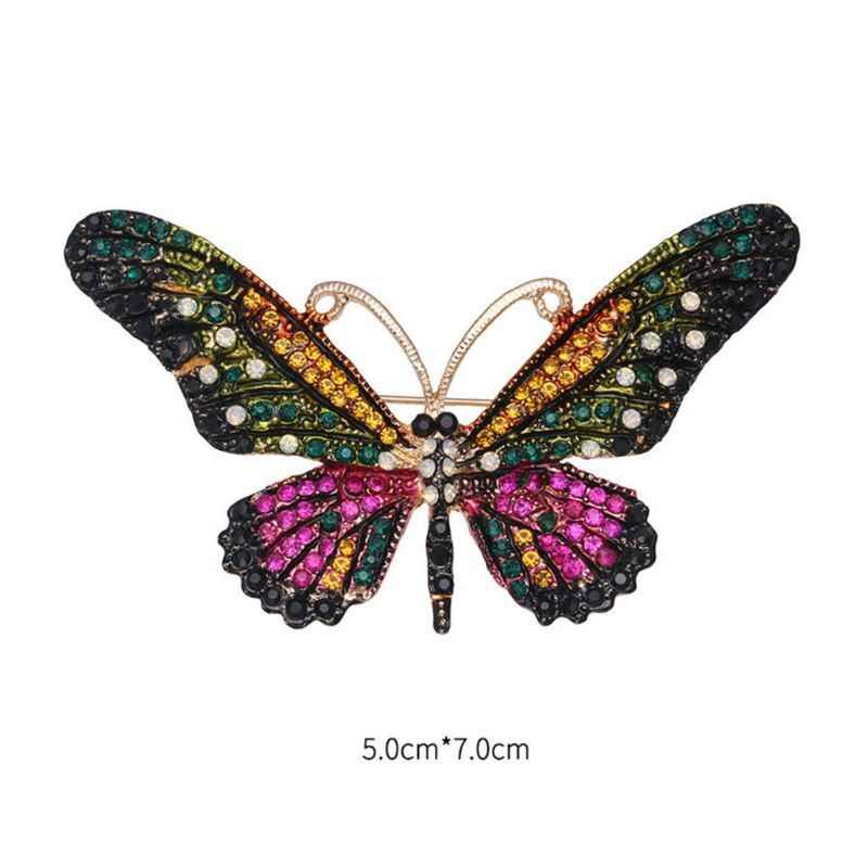 Брошь в виде бабочки из кристаллов букет Платье насекомых значки с животными украшение для шарфа со стразами тонкий Для женщин женские рождественские подарки W77