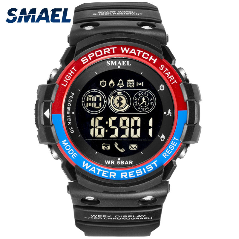 Digital Wristwatches Waterproof SMAEL Men Watch Sport Military Big Clock Men Smart LED Watch 1602 Smart Bluetooth Watches Hombre