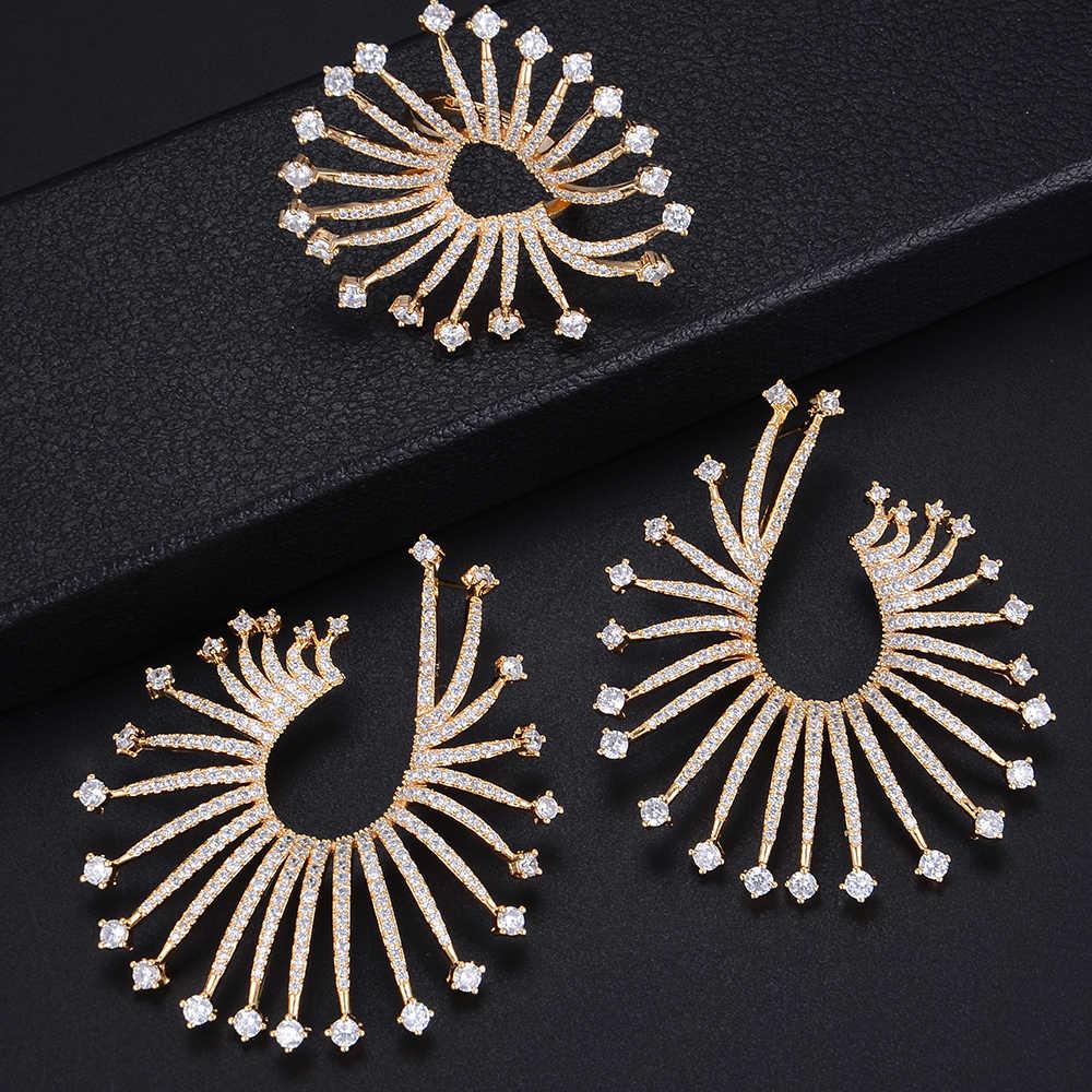 Mode Sparky feu d'artifice géométrie trois tons boucles d'oreilles et bague bijoux ensemble pour les femmes de fiançailles de mariage