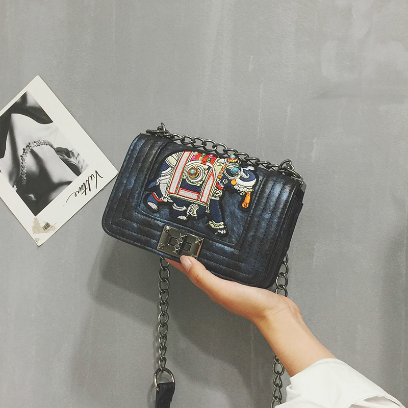 Mini Small Women Purse Tote Elephant Embroidery Rivet Ladies Messenger Bag  Chain Shoulder Handbag Vintage Party Crossbody Clutch-in Shoulder Bags from  ... e093b5c9ab79