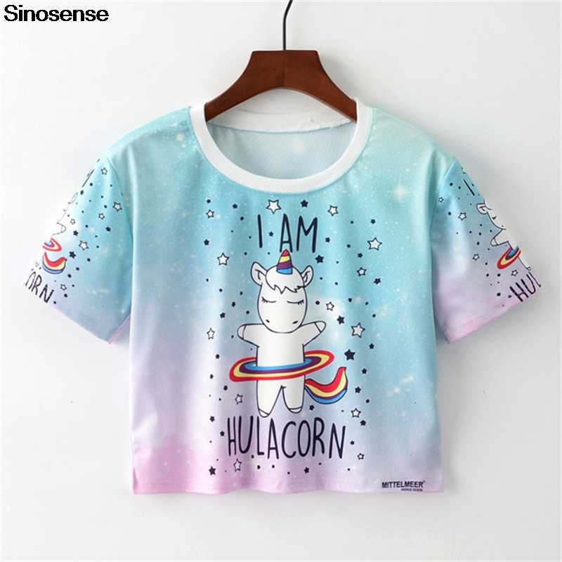 New Funny Unicorn T Shirt Women Summer Clothes 2019 Crop Top Tshirt Casual 3D Tops Graphic Tees Female Harajuku T-shirts