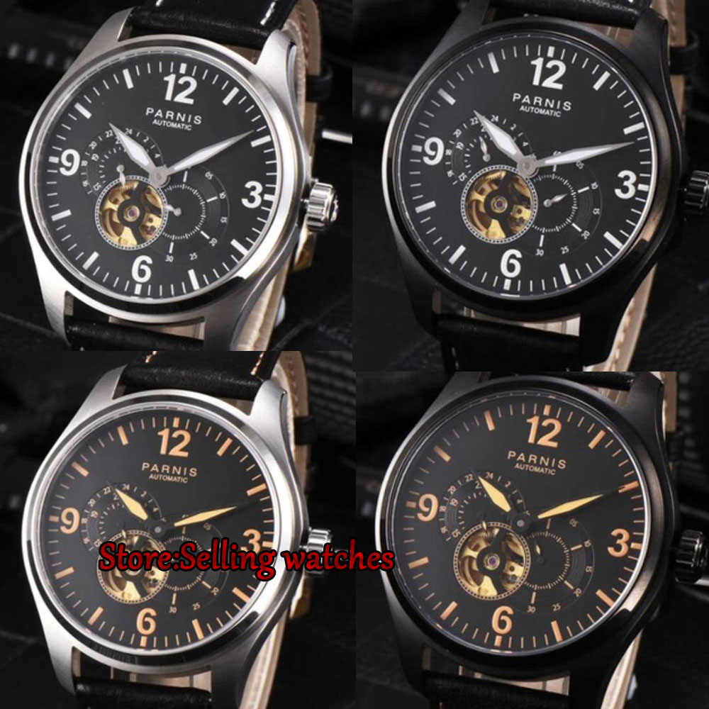 44mm Parnis Luminous Mechanical Men's Power Reserved Sapphire Leather Watches