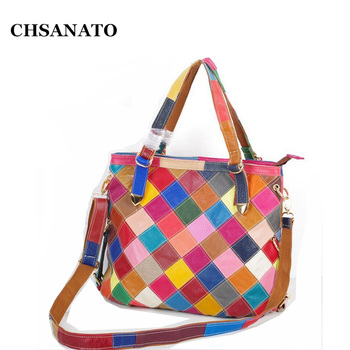 CHSANATO Personality Popular Casual Women Messenger Bags Famous Brand Color Block Bag Genuine Leather Cowhide Handbags