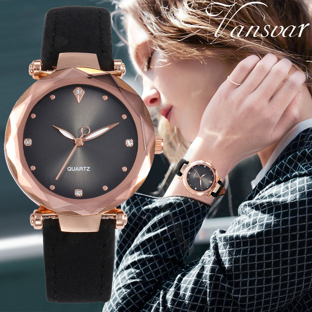 Vansvar Women's Casual Fashion Quartz Leather Band Starry Sky Watch Analog Wrist Watch Female Clock reloj mujer montre femme A10