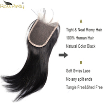 Ross Pretty Remy Lace closure human hair Brazilian Straight Hair Closure Middle part and Free/Three Part 4x4 Swiss Lace