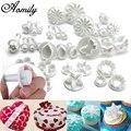 Aomily 33 шт./компл. форма для торта с цветами 10 типов набор форм для шоколада и печенья Ручной пресс Плунжерные инструменты для украшения выпечк...