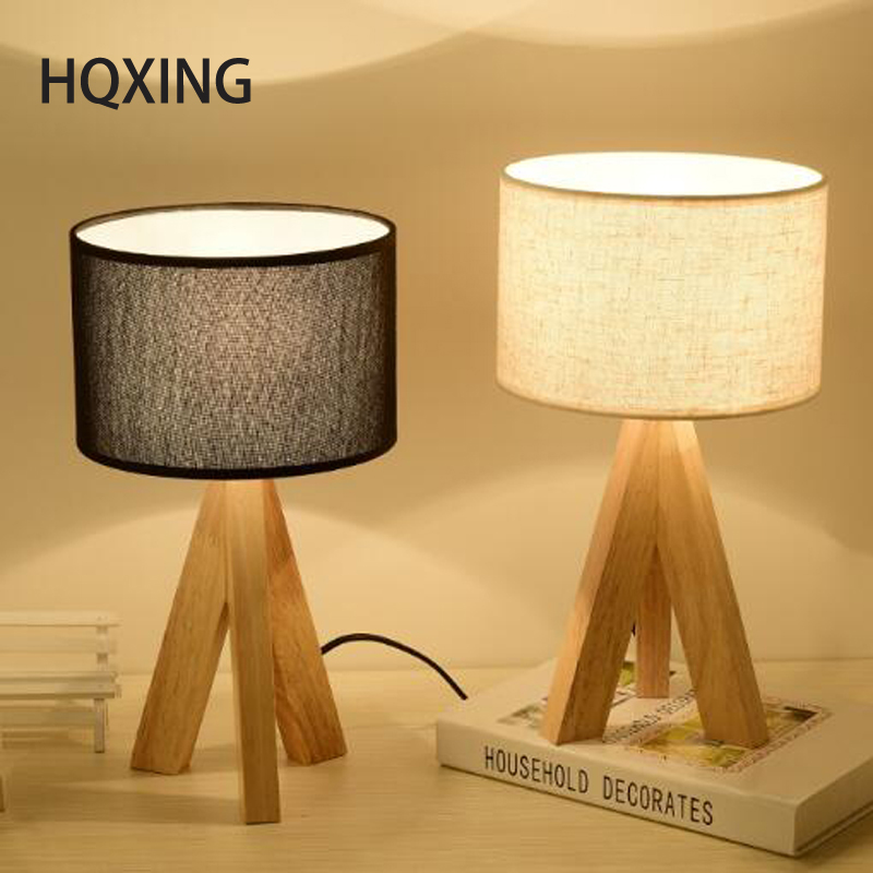 HQXING Wooden Table Lamp With Fabric Lampshade Wood Bedside Desk lights Modern Book Lamps E27 110V 220V Reading Lighting Fixture