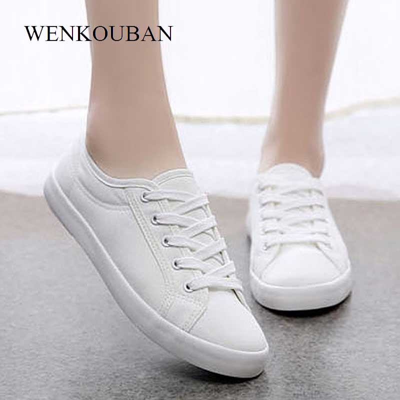 Summer Canvas Sneakers Women White Vulcanized Shoes Classic Female  Lace-Up Flat Trainers Ladies Casual Shoes Zapatos Mujer