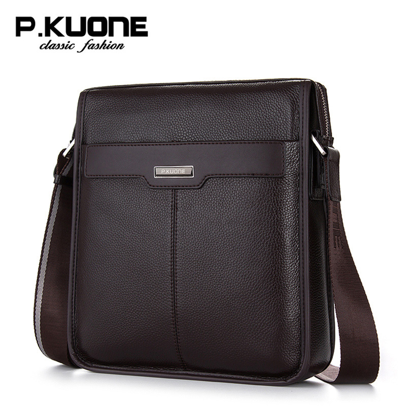 P Kuone male shoulder bag genuine leather men messenger bags business casual man bag brand