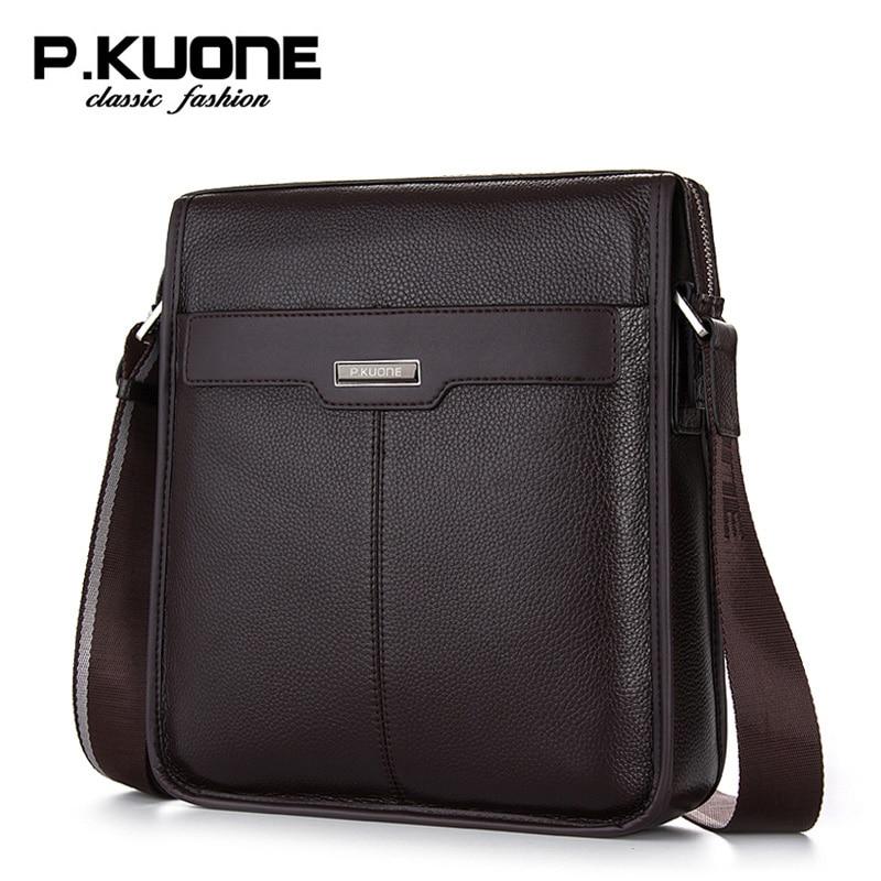 P. Kuone Мужская сумка из натуральной кожи мужские сумки-мессенджеры деловые повседневные мужские брендовые сумки