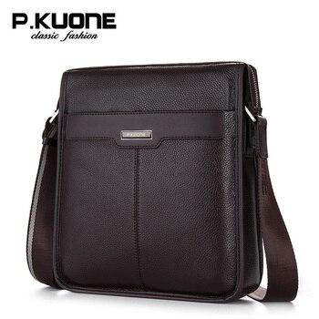 P. Kuone мужская сумка на плечо из натуральной кожи мужские сумки-мессенджеры деловые повседневные мужские сумки бренд >> BETMEN Store