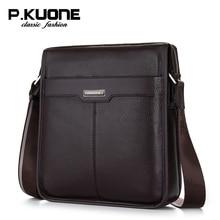 P. Kuone bolso masculino de cuero genuino hombres de negocios bolsas de mensajero ocasional bolsa de hombre de marca