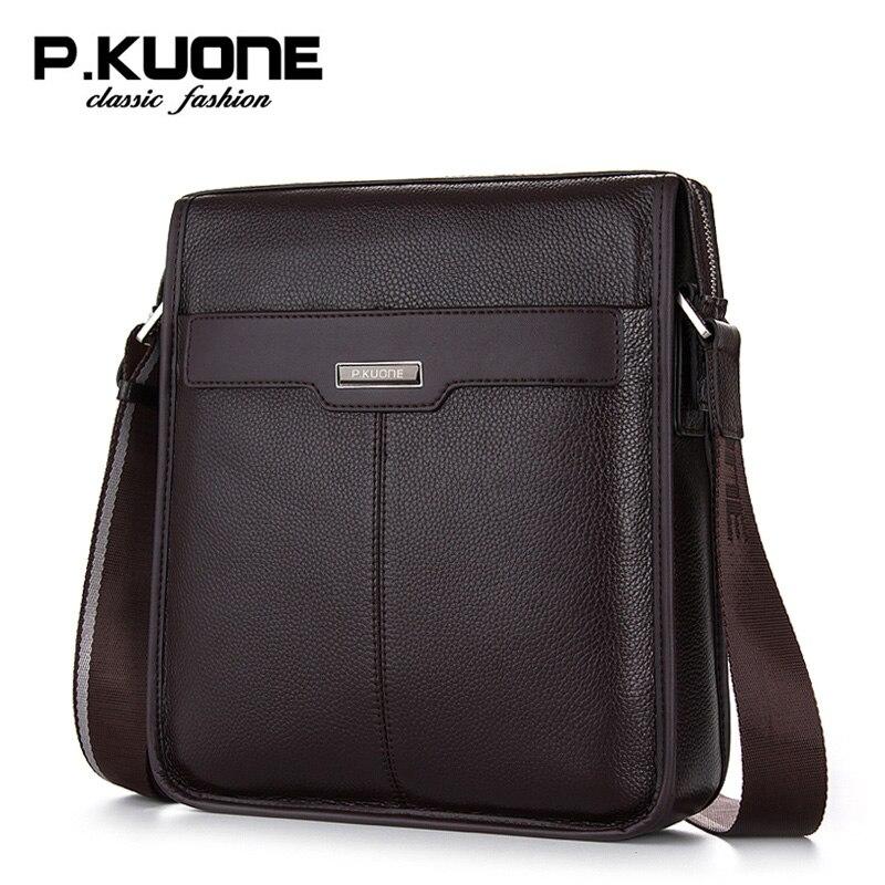 P.Kuone male shoulder bag genuine leather men messenger bags business casual man bag brand