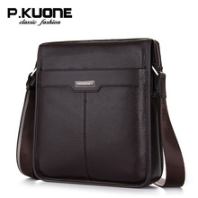P . kuone shoulder bag genuine leather male messenger business first layer of cowhide man Men