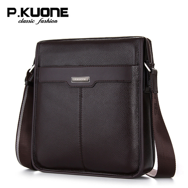 08be8172c912 P.Kuone male shoulder bag genuine leather men messenger bags business  casual man bag brand