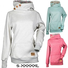 new winter hot mama casual plus size hooded woman solid sweatshirt fashion long sleeve button pullover female