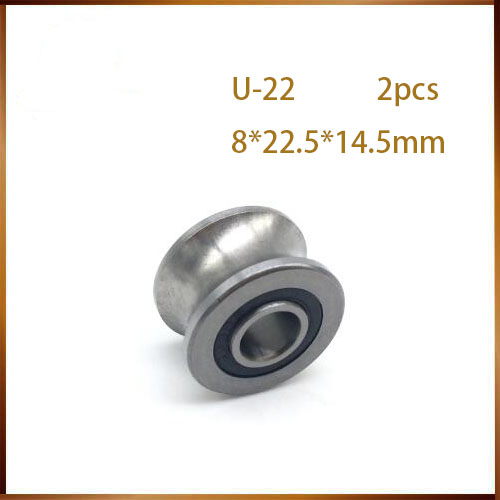 Adaptable Free Shipping 2pcs U Groove Ball Bearing Guide Track Roller Bearings U22 8*22.5*14.5*13.5mm Wheel Ball Bearing U-22