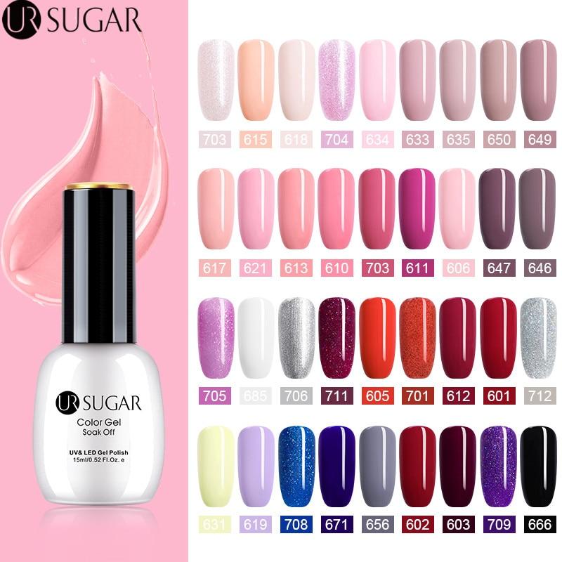 UR SUGAR 15ml Pure Nail Color Gel Polish  Pink Soak off Art UV Varnish Semi-permanent Glitter Lacquer Manicure