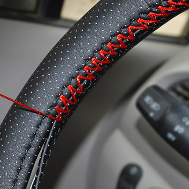 DIY Steering Wheel Covers Extremely soft Leather braid on the steering-wheel of Car With Needle and Thread Interior Accessories