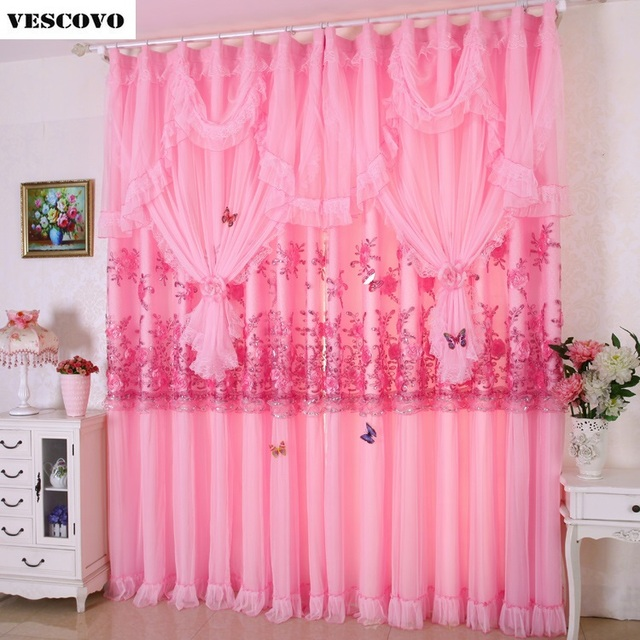 2PCS Luxury Lace Window Curtains Set for Living Room European Royal ...