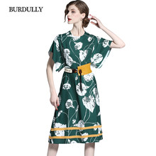 e6c8ff09192 BURDULLY Long Summer Dresses Women 2018 European Large Size Ladies Dresses  Business Casual Loose Floral Print Dress robe femme