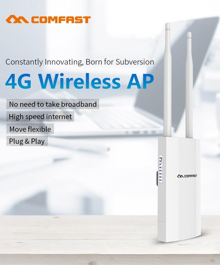 Routeur Wifi sans fil de Point d'accès AP COMFAST 300 Mbps Plug and Play 4G carte SIM routeur sans fil WiFi étanche extérieur Portable