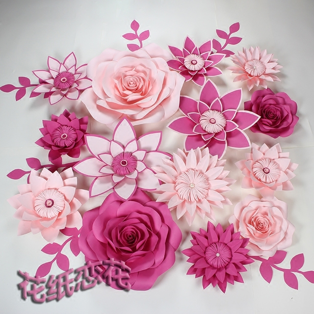 Pink with fuchsia artificial cardboard paper rose flower wall event pink with fuchsia artificial cardboard paper rose flower wall event decoration wedding flower backdrop mightylinksfo