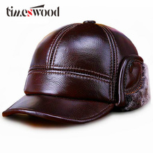 TIMESWOOD Genuine Real Cow Leather Warm Men Ear Protection Hat Fitted Baseball Cap