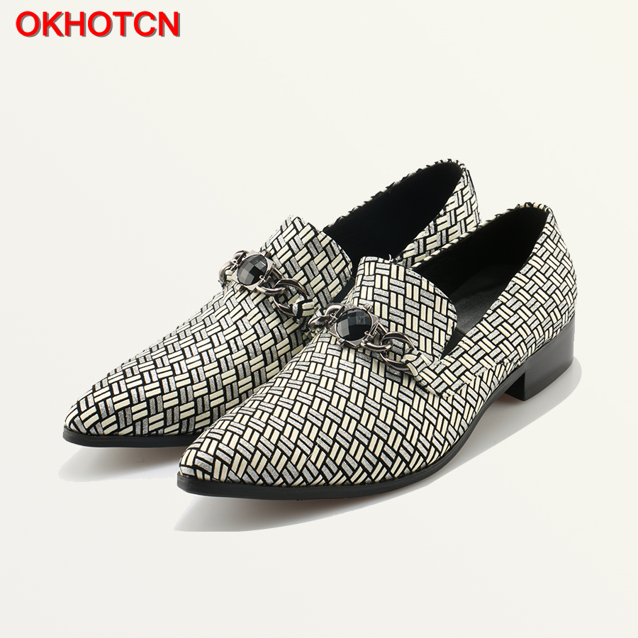 купить Classic Plaid Wedding Shoes Pointed Toe Dress Shoes Silver Leather Oxford Shoes For Men Metal Chain Black Jewel Formal Shoes недорого