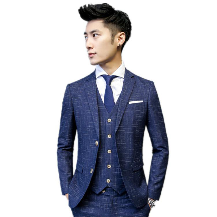 Jacket+Vest+Pants)Custom Slim Fit Suits Men's Wedding Suits Business Double Breasted High Quality Men's Casual Striped Tuxedo