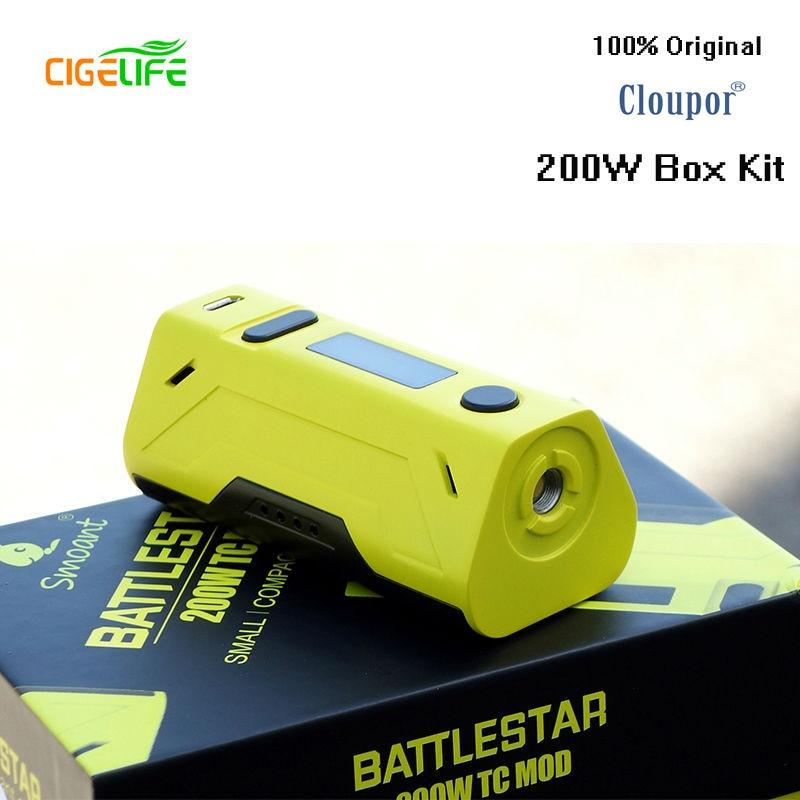 100% Original Cloupor Electronic Cigarette kit Battlestar 200W TC Mod Box with OLED e cigarette 18650 Battery Vape e-cigarettes