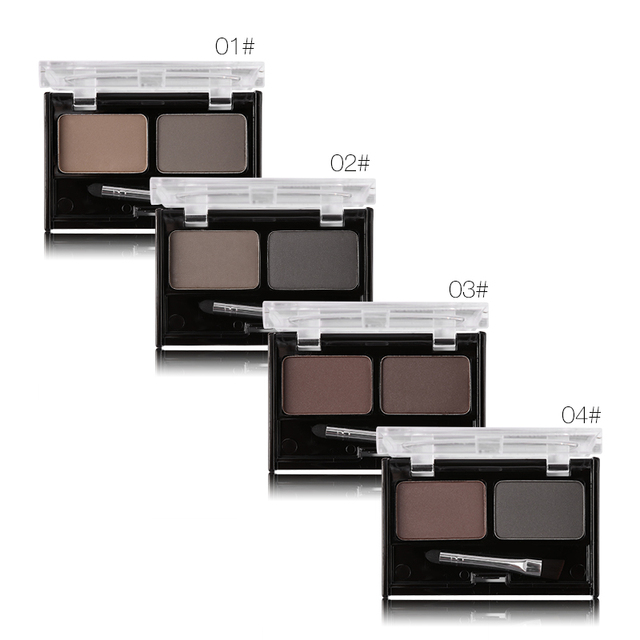 Brand Double Color Eyebrow Powder Makeup Palette Natural Brown Eye Brow Enhancers 3D Eye Brows Shadow Cake Beauty Kit with Brush 1