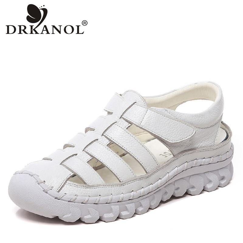 DRKANOL 2019 Flat Sandals Women Summer Shoes Handmade Genuine Leather Gladiator Sandals Women Casual Platform Sandals