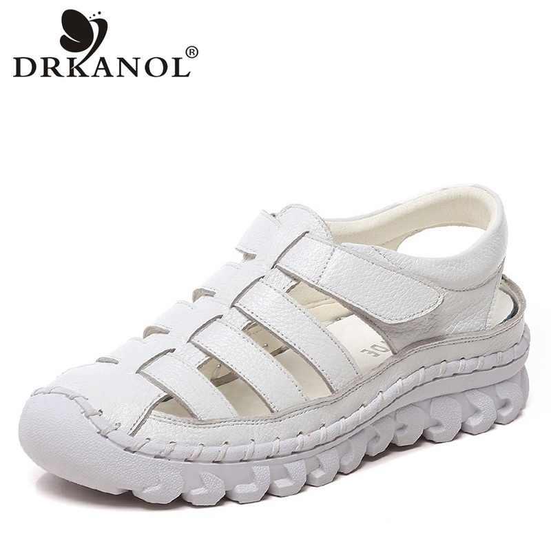 DRKANOL 2020 sandales plates femmes chaussures d'été à la main en cuir véritable gladiateur sandales femmes décontracté plate-forme sandales Sandalias