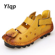 Купить с кэшбэком 2016 Summer New Soft Bottom Flat Genuine Leather Women Shoes Personality Leisure Women Sandals Retro Handmade Sandals sapato