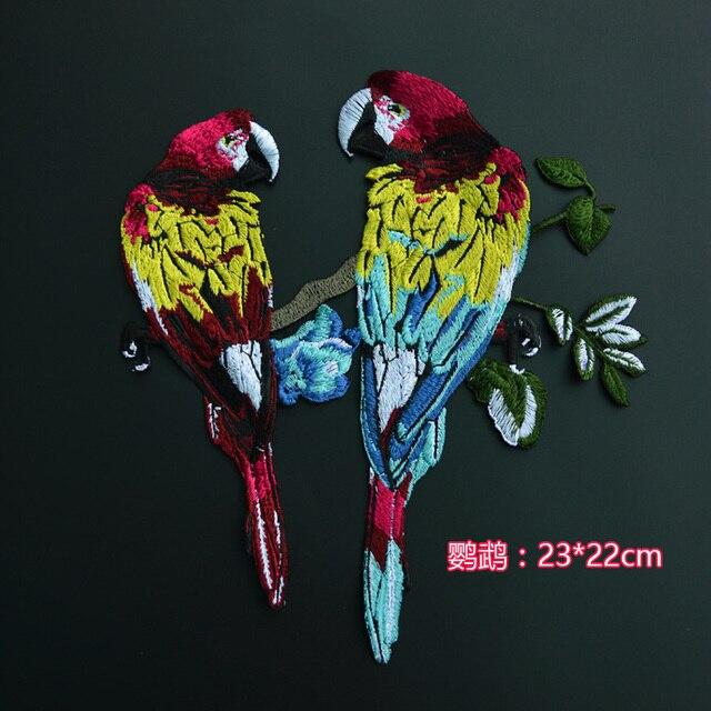 DIY Fleur et Oiseau Patch Perroquet De Mode Broderie Personnalité Marée National Vent Cheongsam Brodé Patchs Cousu sur YN248