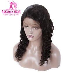 Аманда бразильский Full Lace предварительно сорвал человеческий волос парики глубокая волна Натуральный Черный 150% плотность человеческих